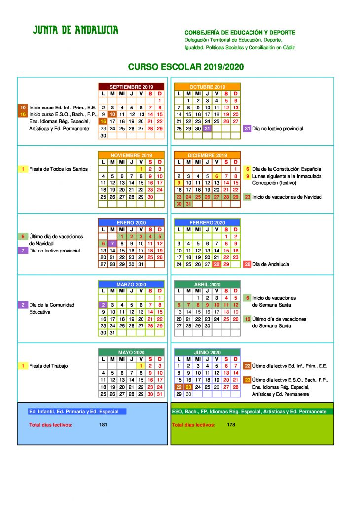 Calendario Escolar 2020 Cadiz.Calendario Escolar Curso 2019 2020